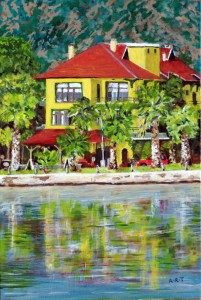 "The Flora Hotel, Koycegiz, Nr. Dalaman.8"" x 12"" Acrylic on card"