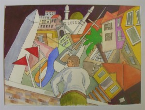 "Fethiye Vortex, Watercolour, 16"" x 10"""