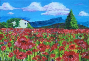 "Poppyfield. Acrylic on card, 8""x5"""