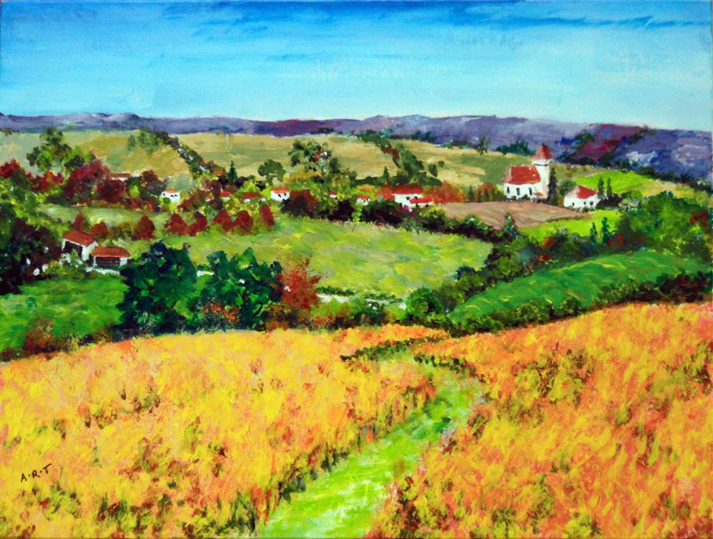 "Armagnac Autumn. A Gascony landscape with vines and lavender. 1o"" x 8"" Acrylic on card"