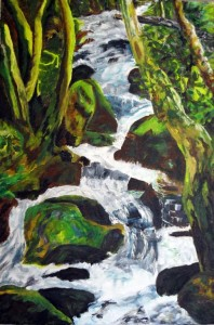 "Arthog Falls, 24"" x 18"" Acrylic on canvas"