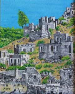 "Kayakoy Landscape 1 10"" x 8"", Acrylic on card"