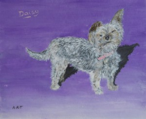 "Daisy the Dog  10"" x 8"" Acrylic on card"