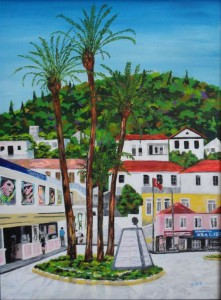 "Fethiye Palm Island 24"" x 18"", Acrylic on canvas"