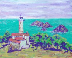 "Gelidonya Lighthouse 1 10"" x 8"" acrylic on card"