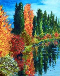 """Lakeside Egirdir Sonbahar 10"""" x 8"""", Acrylic on card"""