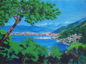 "Fethiye Bay 24"" x 18"" Acrylic on canvas"