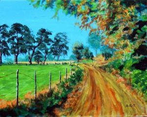 "Country Road 10"" x 8"" Acrylic on card"