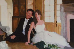 "Caroline and Jon 36"" x 24"" Acrylic on canvas"