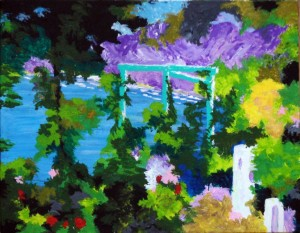 "Blue Pergola 12"" x 9"" Acrylic on mount board"