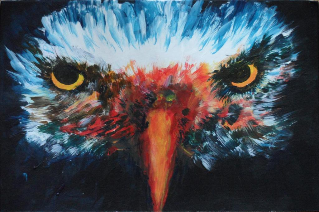 "Eagle Eyes 9"" x 6"" Acrylic on mount board"