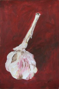 "Garlic Bulb 9"" x 6"" Acrylic on mount board"