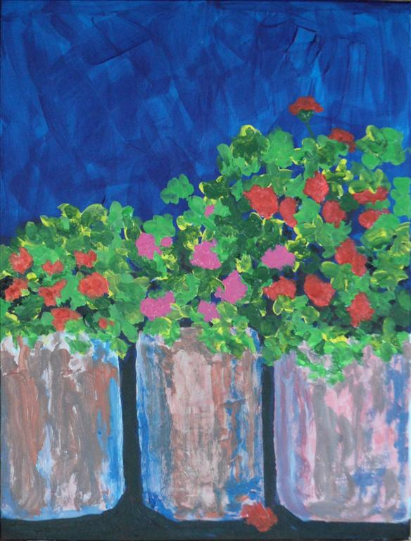 "Geraniums on a wall 11"" x 8"" Acrylic on card"