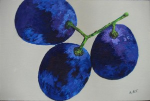 "3 Grapes 9"" x 6"" Acrylic on mount board"