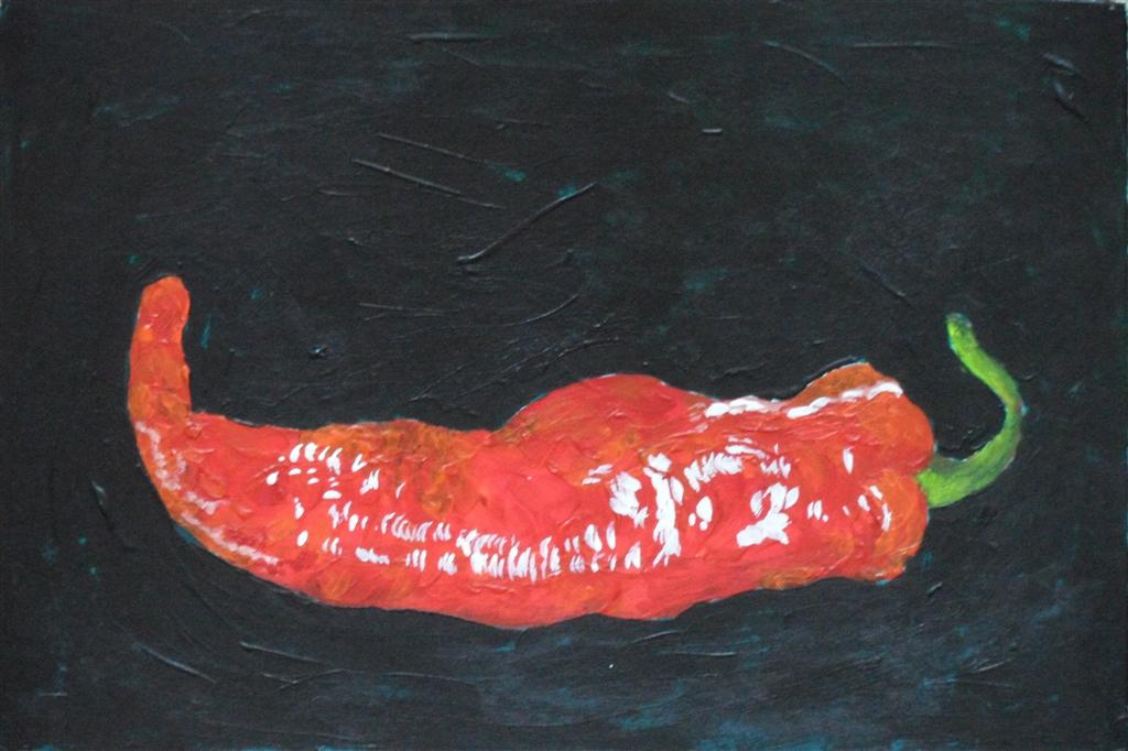 "Chilli 9"" x 6"" Acrylic on mount board"