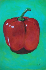"Red Pepper 9"" x 6"" Acrylic on mount board"