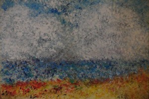 "Seascape2 9"" x 6"" acrylic on mount board"