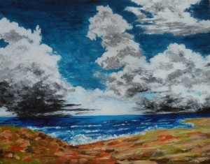 """Before the Storm 12"""" x 9"""" Acrylic on mount board"""