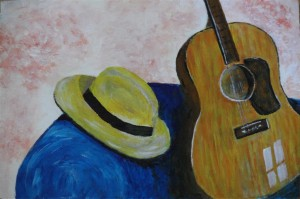 "Panama Hat 9"" x 6"" Acrylic on mount board"