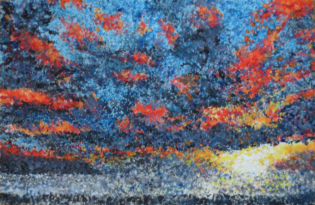 "Calis sunset 9"" x 6"" Acrylic on mount board"