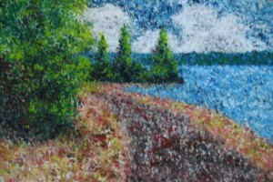 "Lakeside track 9"" x 6"" Acrylic on mount board"