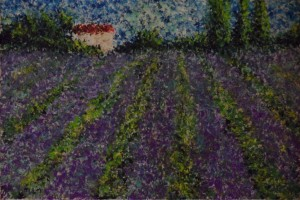 "Lavender 8"" x 6"" Acrylic on mount card"