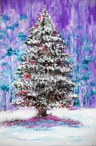 "Xmas Tree 1 9"" x 6"" Acrylic on mount board"