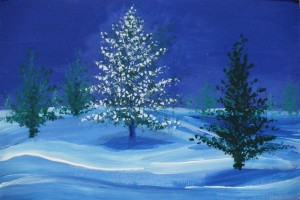 "Contempoary Xmas tree 9"" x 6"" Acrylic on mount board"