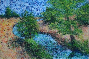 "Trout stream 9"" x 6"" Acrylic on mount board"