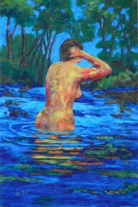 "Bathing woman 9"" x 6"" Acrylic on mount board"