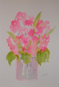 "Pink flowers 12"" x 8"" Watercolour on NOT paper"