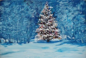 "Xmas Tree number 4 9"" x 6"" Acrylic on mount board"
