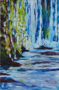 "Falls 9"" x 6"" Acrylic on mount board"