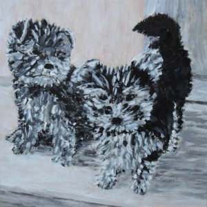 "Rosie and Millie Jan 2014 9"" x 9"" Acrylic on mount board"