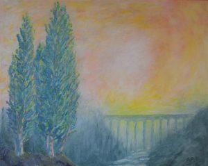 Poplars in a Landscape 60x45cms Acrylic on canvas